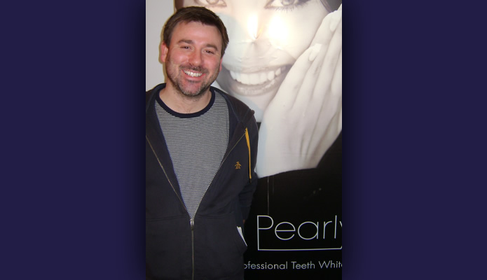 Graeme Hawley after having his teeth whitened with Pearlys