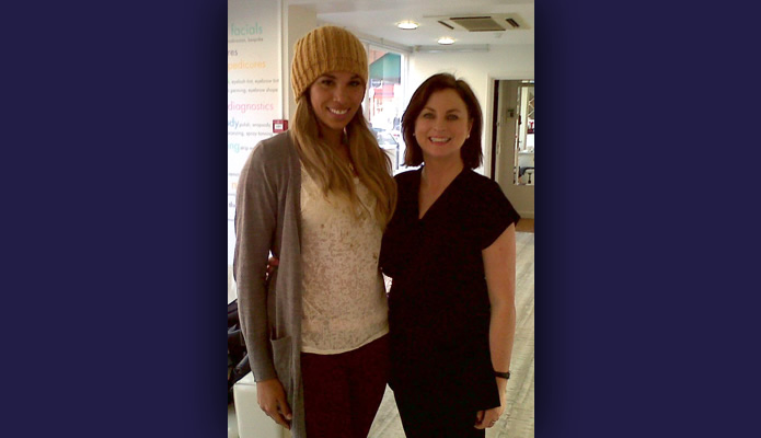 Javine Hylton and our teeth whitening specialist Bernadette